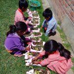Die Kinder beim Pflanzen